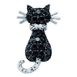 Round Black Color Enhanced Diamond Cat Pendant 1/3 Cttw