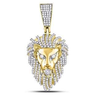 Round Diamond Lion Head Charm Pendant 1-1/3 Cttw 10KT