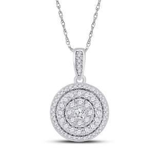 Round Diamond Circle Cluster Pendant 1/2 Cttw 10KT