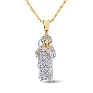Round Diamond Jesus Saint Charm Pendant 3/8 Cttw 14KT
