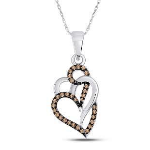Round Brown Diamond Triple Heart Pendant 1/4 Cttw 10KT