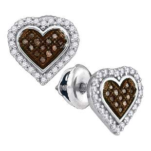 Round Brown Diamond Heart Cluster Earrings 1/4 Cttw