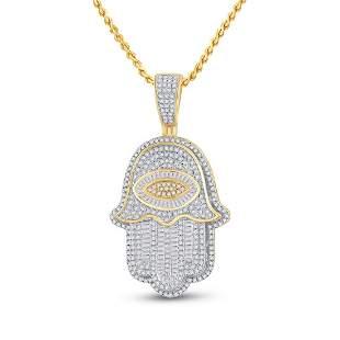 Baguette Diamond Eye Fatima Hamsa Charm Pendant 1-1/2