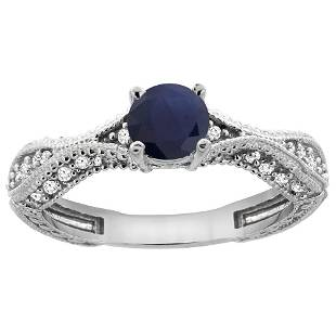 0.85 CTW Blue Sapphire & Diamond Ring 14K White Gold -