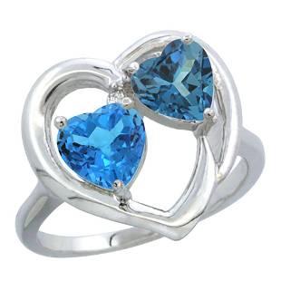 2.61 CTW Diamond, Swiss Blue Topaz & London Blue Topaz