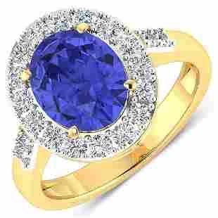 Natural 3.1 CTW Tanzanite & Diamond Ring 14K Yellow