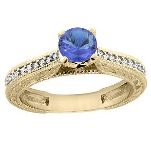 0.74 CTW Tanzanite & Diamond Ring 14K Yellow Gold -