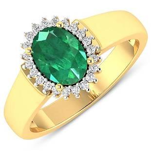 Natural 2.3 CTW Zambian Emerald & Diamond Ring 14K