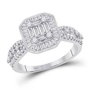 Baguette Diamond Square Cluster Ring 7/8 Cttw 14KT