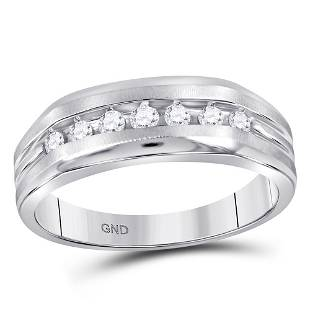 Round Diamond Wedding Single Row Band Ring 1/4 Cttw