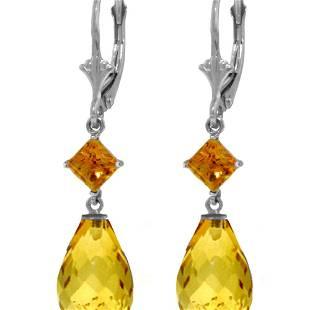Genuine 11 ctw Citrine Earrings 14KT White Gold -