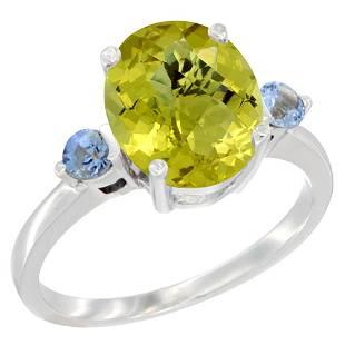 2.64 CTW Lemon Quartz & Blue Sapphire Ring 14K White