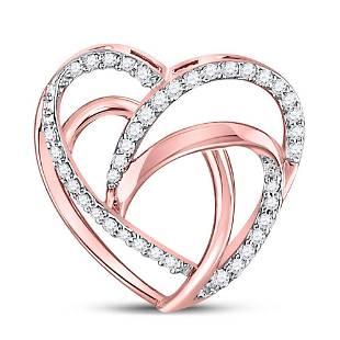 Round Diamond Heart Pendant 1/10 Cttw 10KT Rose Gold