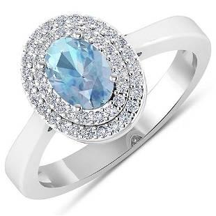 Natural 0.76 CTW Aquamarine & Diamond Ring 14K White