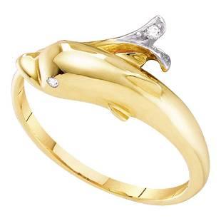 Round Diamond Dolphin Fish Animal Wrap Ring .03 Cttw