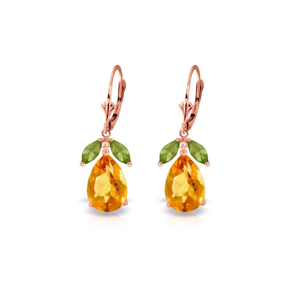 Genuine 13 ctw Citrine & Peridot Earrings 14KT Rose