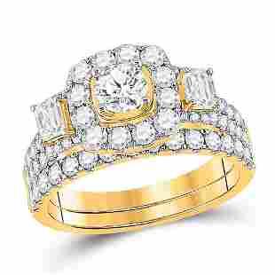 Diamond Bridal Wedding Ring Band Set 2 Cttw 14KT Yellow
