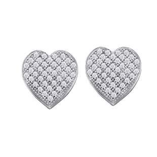 Round Diamond Heart Cluster Earrings 1/10 Cttw 10KT