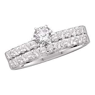 Diamond Solitaire Bridal Wedding Ring Band Set 7/8 Cttw