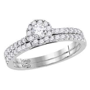 Diamond Halo Slender Bridal Wedding Ring Band Set 3/4