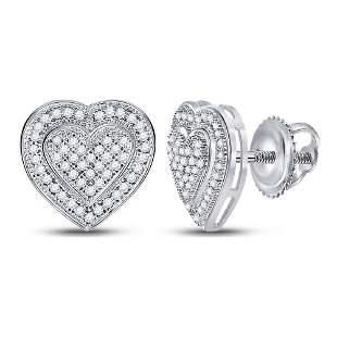 Round Diamond Heart Cluster Earrings 1/4 Cttw 10KT