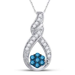 Round Blue Color Enhanced Diamond Cradled Cluster