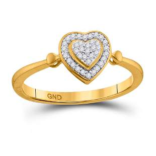 Round Diamond Heart Cluster Ring 1/10 Cttw 10KT Yellow