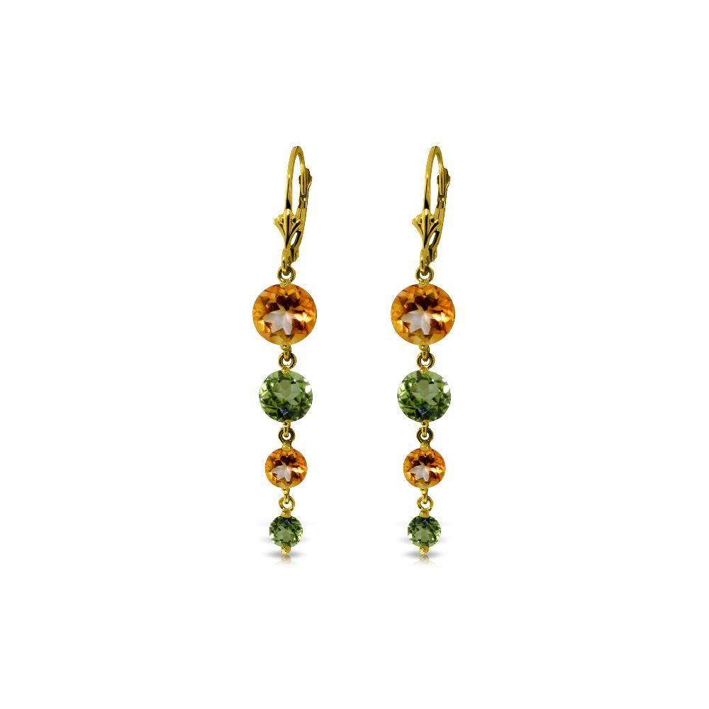 Genuine 7.8 ctw Citrine & Peridot Earrings 14KT Yellow