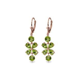 Genuine 5.32 ctw Peridot Earrings 14KT Rose Gold -