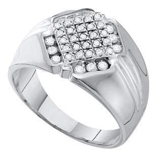 Round Diamond Diagonal Square Cluster Ring 1/2 Cttw