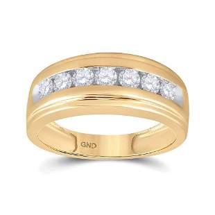Round Diamond Wedding Channel-Set Band Ring 7/8 Cttw