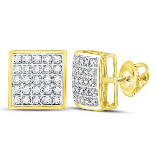 Round Diamond Square Cluster Earrings 1/6 Cttw 10KT