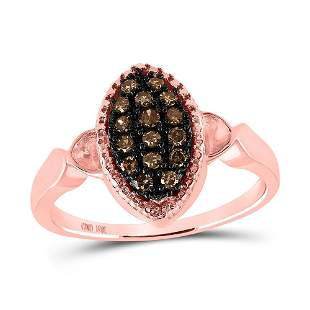 Round Brown Diamond Oval Cluster Ring 1/5 Cttw 10KT