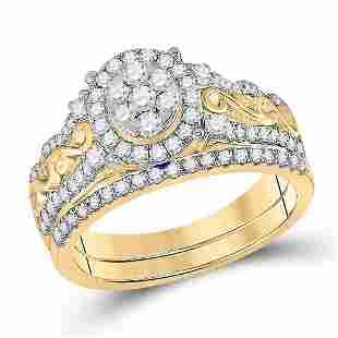 Diamond Bridal Wedding Ring Band Set 3/4 Cttw 14KT