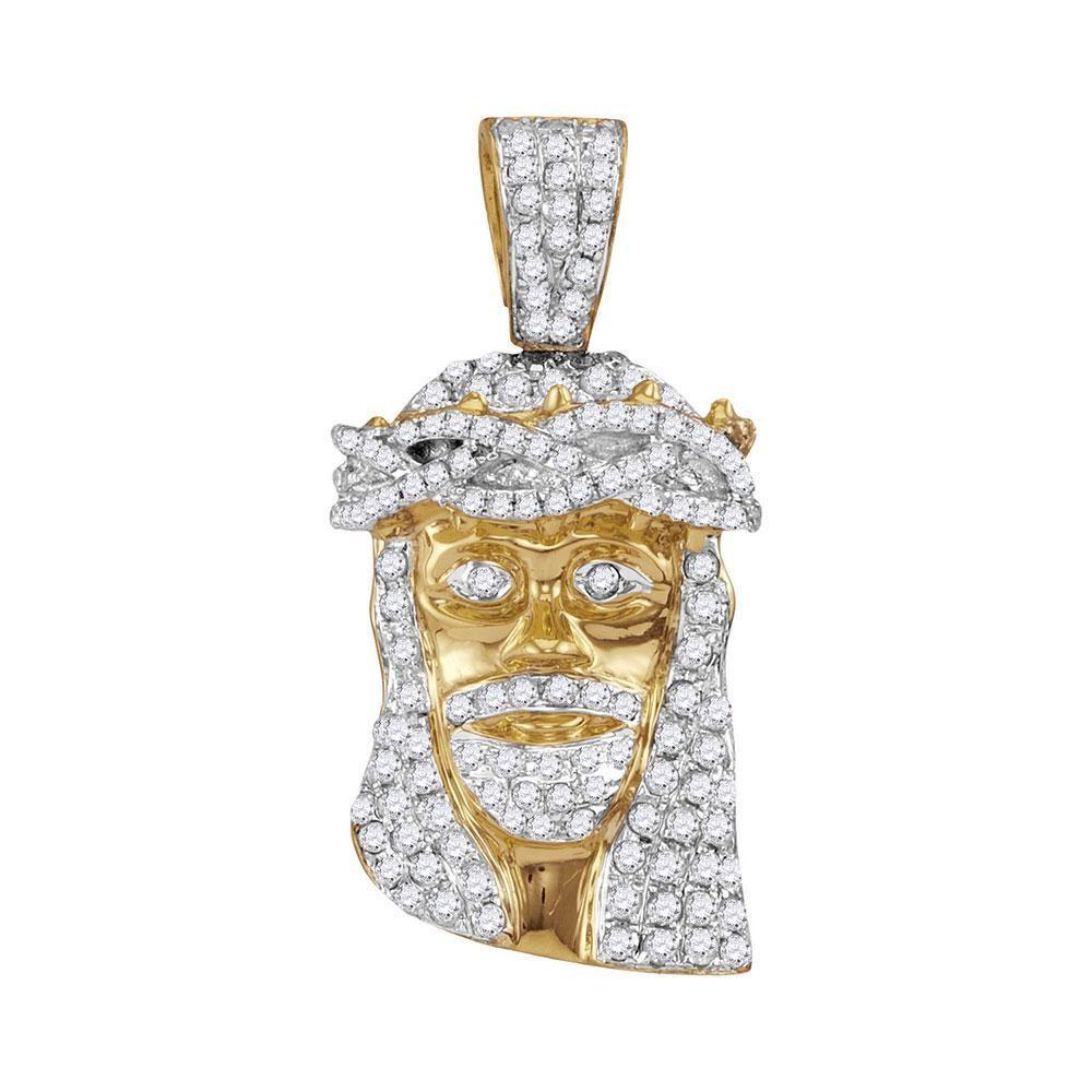 Round Diamond Jesus Face Charm Pendant 3/4 Cttw 10KT