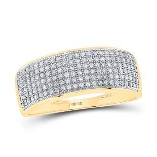 Round Diamond Pave Band Ring 1/2 Cttw 10KT Yellow Gold