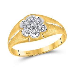 Round Diamond Matte Flower Cluster Ring .02 Cttw 10KT