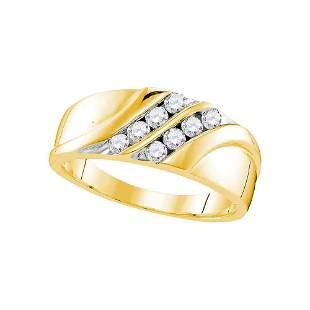Round Diamond Wedding Band Ring 1/2 Cttw 10KT Yellow