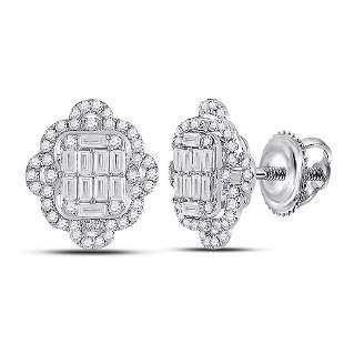 Baguette Diamond Quatrefoil Cluster Earrings 1 Cttw