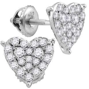 Round Diamond Heart Cluster Stud Earrings 3/4 Cttw 10KT