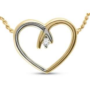 Round Diamond Heart Pendant .03 Cttw 10KT Two-tone Gold