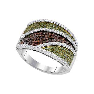 Round Green Color Enhanced Diamond Cluster Ring 3/4