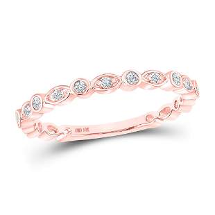Round Diamond Vintage Stackable Band Ring 1/8 Cttw 10KT