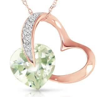 Genuine 3.35 ctw Amethyst & Diamond Necklace 14KT Rose