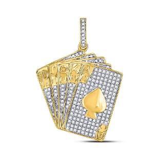 Round Diamond Royal Flush Charm Pendant 5/8 Cttw 10KT