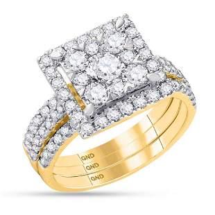 Diamond Square Bridal Wedding Ring Band Set 2 Cttw 14KT