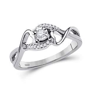 Round Diamond Heart Ring 1/8 Cttw 10KT White Gold