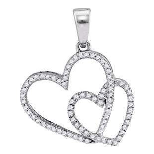 Round Diamond Double Heart Pendant 1/5 Cttw 10KT White