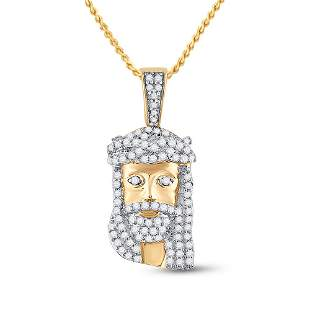 Round Diamond Jesus Face Charm Pendant 1/3 Cttw 10KT