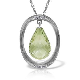 Genuine 9.6 ctw Amethyst & Diamond Necklace 14KT White